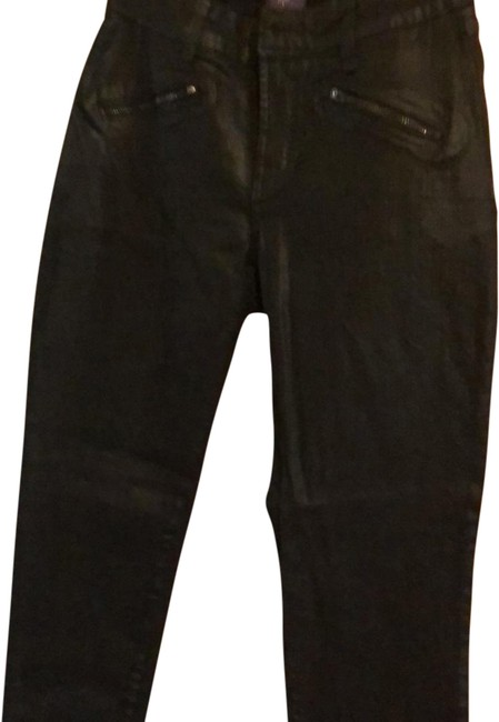 Item - Black Coated Leather Look Straight Leg Jeans Size 4 (S, 27)