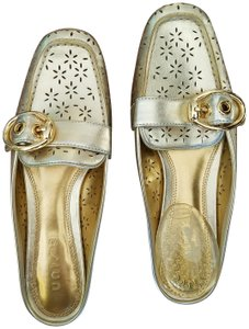 Unisa Loafers Dressy Flats Cut Out Flowers Gold Mules