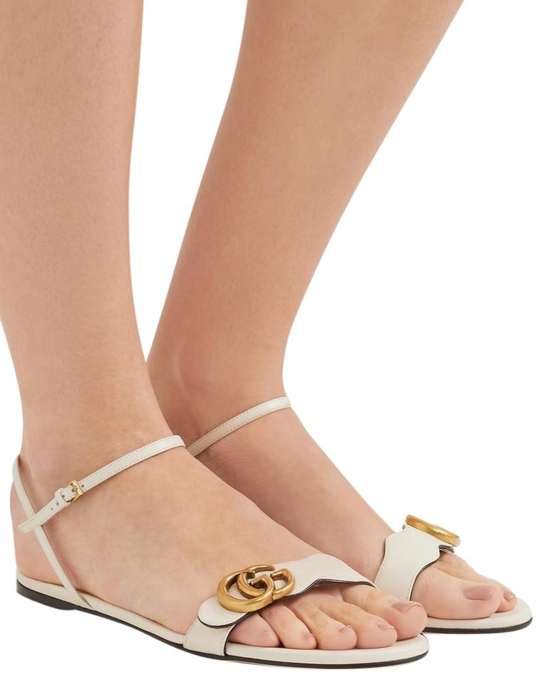 c7909a60b46 Gucci Marmont Logo Embellished Leather Sandals Size EU 37 (Approx ...
