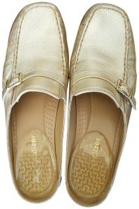 Naturalizer Flats Loafers Dressy Gold Mules