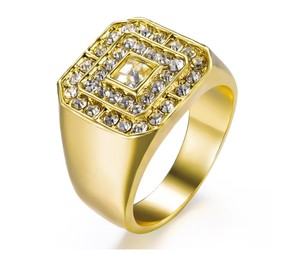 Other 18K Gold-Plated 1.50 CTW Octagon Grid Halo Cubic Zirconia Men Ring