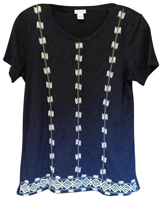Item - Black Embroidered Tee Shirt Size 4 (S)