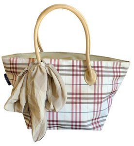 Burberry London Nova Check Blue Label Tote in Champagne, Pink, Red, Brown, Ivory