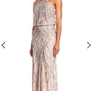 Adrianna Papell Shell Beaded Blouson Halter Formal Bridesmaid/Mob Dress Size 6 (S)