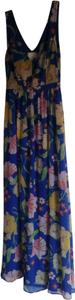 Blue floral print Maxi Dress by Modcloth Date Night Night Out