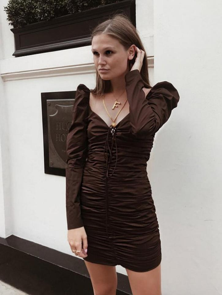 a498dbdf Zara Brown With Ruching Short Cocktail Dress Size 4 (S) - Tradesy