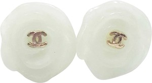 Chanel Chanel Gold CC Light Green Resin Camellia Piercing Earrings