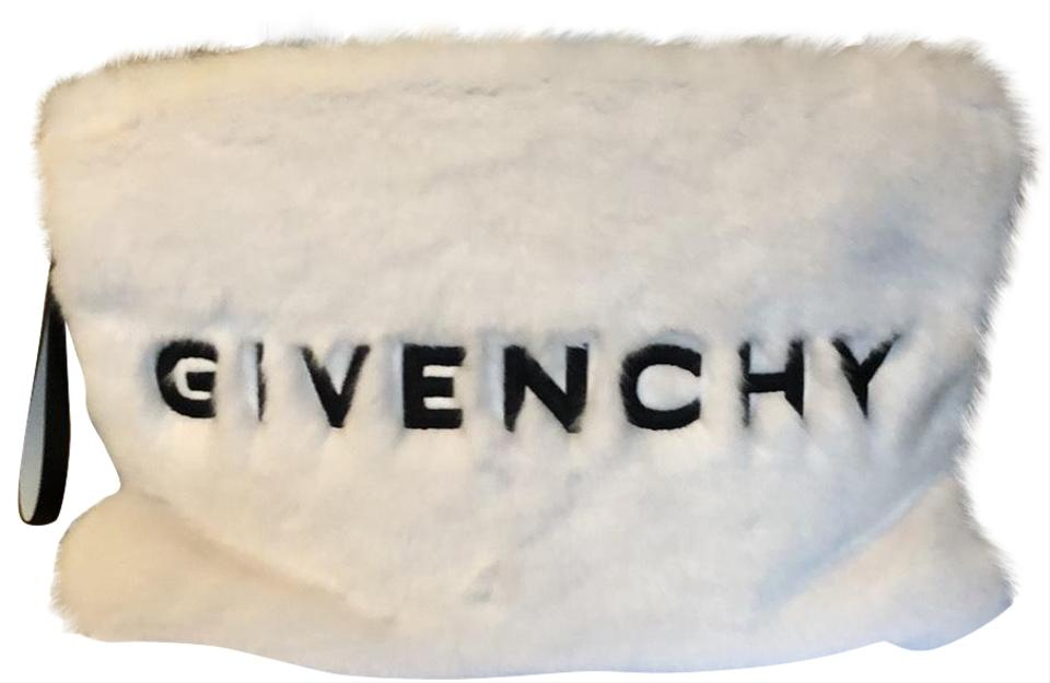 f171c0fea3b Givenchy Logo Pouch White and Black Faux Fur Clutch - Tradesy