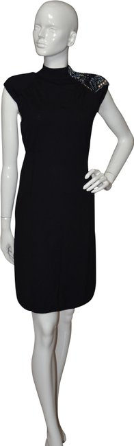 Item - Black Parker Sweater Beaded Wool Cocktail Party Short Night Out Dress Size 8 (M)