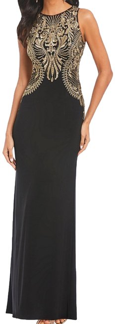 Item - Black and Gold Embroidered Gown Long Formal Dress Size 6 (S)