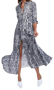 grey Maxi Dress by Zara Animal Print Vacation Flowy Collared