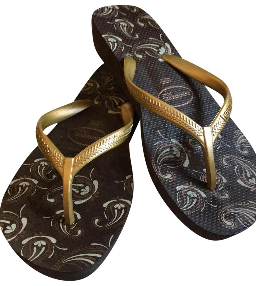 c6a87c4f4b6cc9 Havaianas Black and Gold Flip Flops Sandals Size EU 41.5 (Approx. US ...