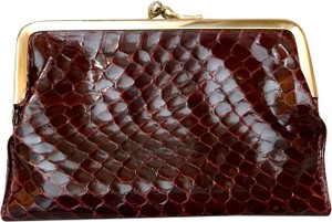 d35dc699ad0e Neiman Marcus Kiss Lock Wallet Wine Snakeskin Scarlet Leather
