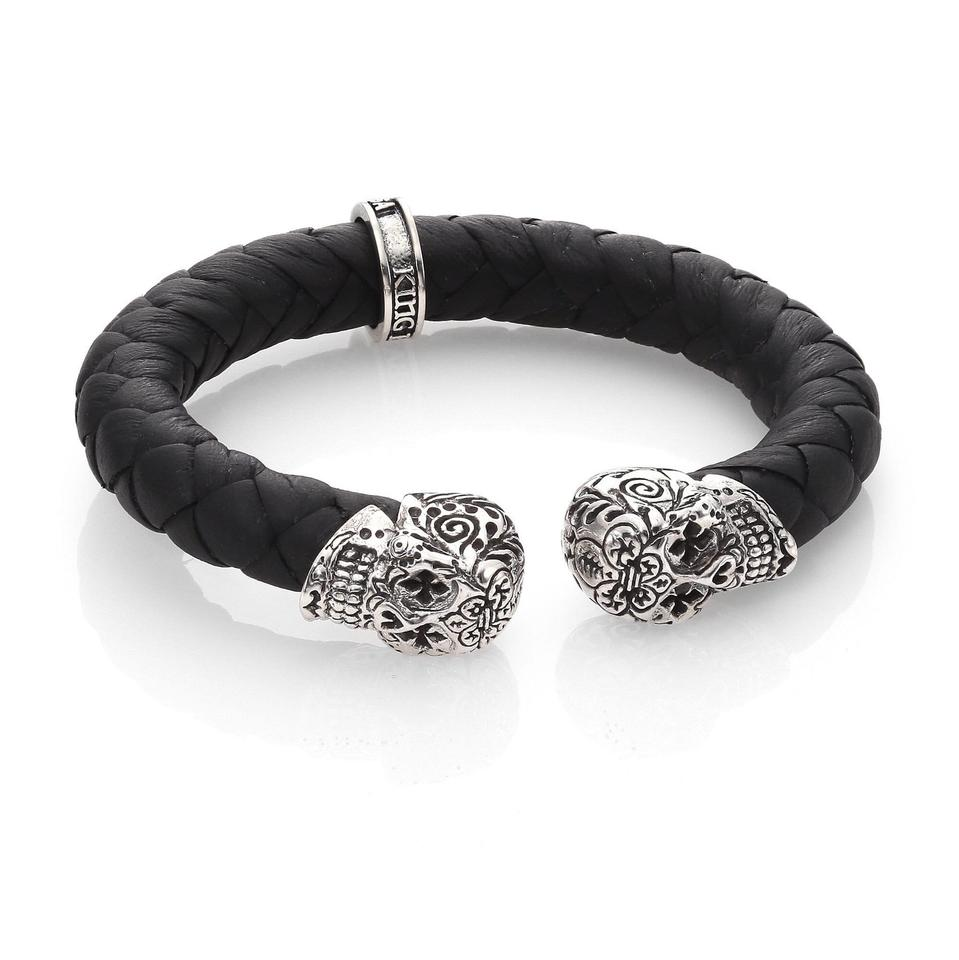 39d36da48 King Baby DAY OF THE DEAD STERLING SKULL BRAIDED LEATHER CUFF BRACELET  Image 0 ...