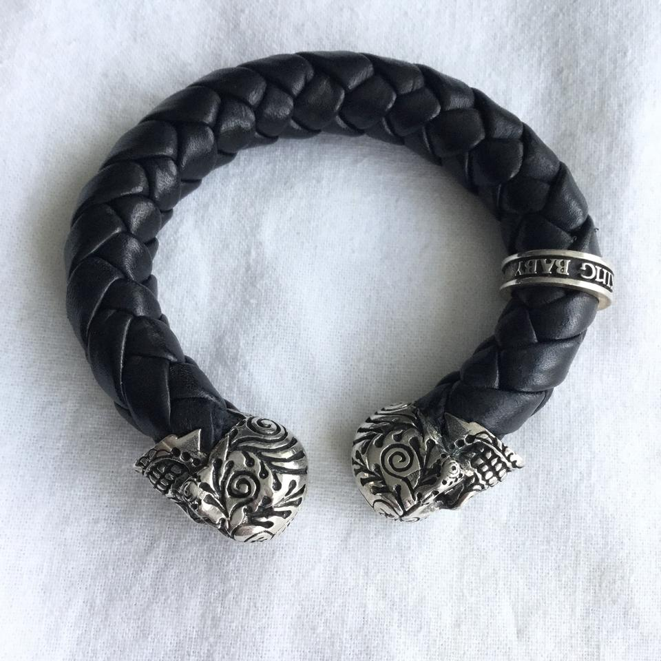 862bd6f9b King Baby DAY OF THE DEAD STERLING SKULL BRAIDED LEATHER CUFF BRACELET  Image 8. 123456789