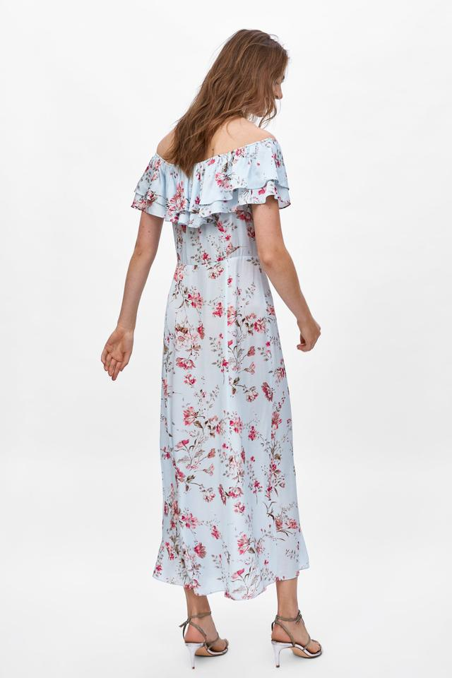 142b7e7a0 Zara Blue Ruffle Floral Long Casual Maxi Dress Size 8 (M) - Tradesy