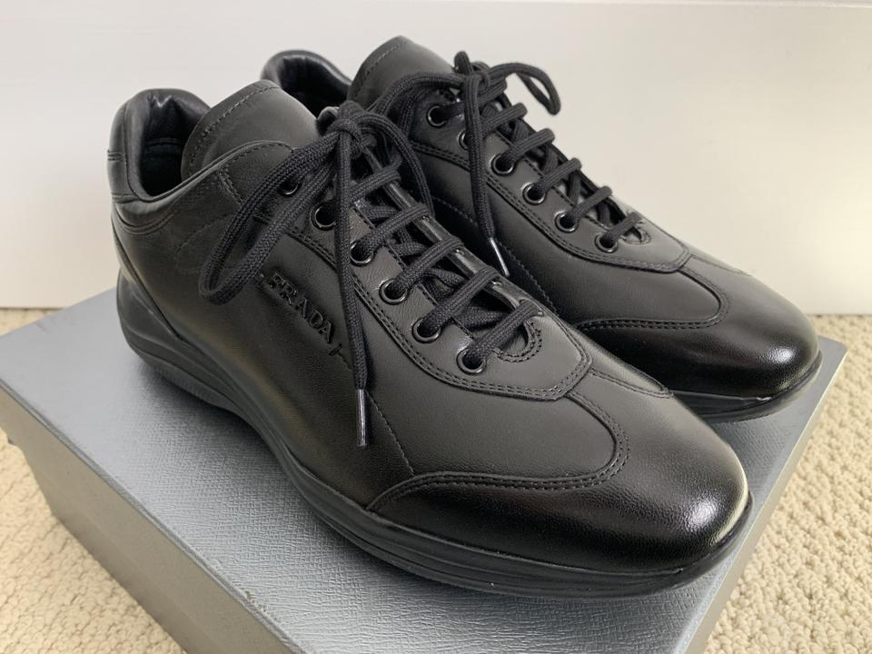 4277a6165d354c Prada Logo Leather Sneakers Lace Up Black Athletic Image 11. 123456789101112