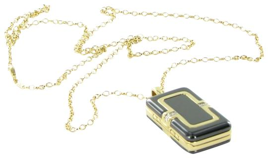 MONICA RICH KOSANN Monica Rich Kosann Necklace Rectangular Locket Diamond 18K Ceramic
