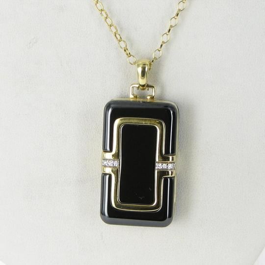 MONICA RICH KOSANN Monica Rich Kosann Necklace Rectangular Locket Diamond 18K Ceramic Image 1