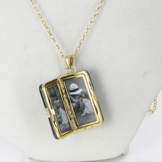 MONICA RICH KOSANN Monica Rich Kosann Necklace Rectangular Locket Diamond 18K Ceramic Image 3