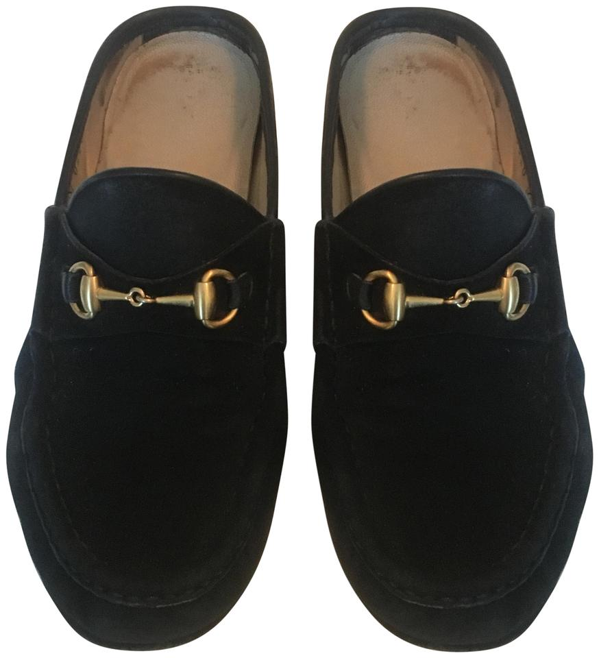 cbcd211b683b0 Gucci Black Horsebit Vintage Suede with Gold Hardware Mules Slides ...