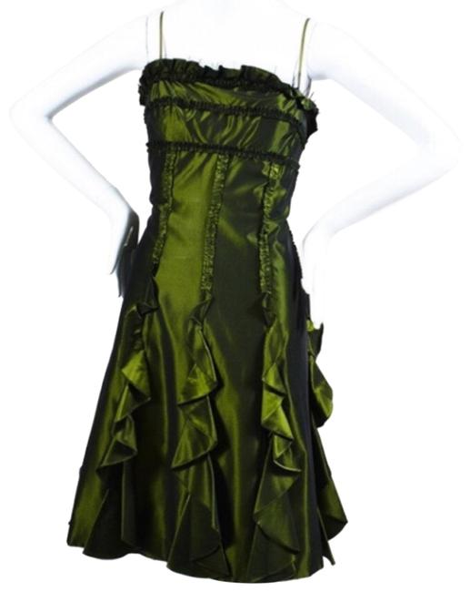 Item - Green Ruffle Corset A Line Tulle Short Formal Dress Size 8 (M)
