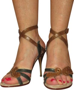 Shahe G Sexy Strap Ankle Cute Leather brown green Sandals