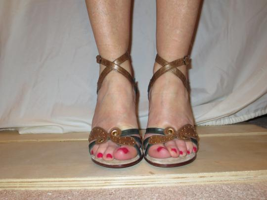 Shahe G Sexy Strap Ankle Cute Leather brown green Sandals Image 1
