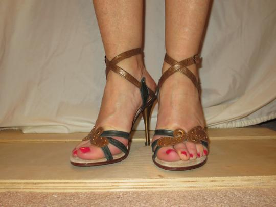 Shahe G Sexy Strap Ankle Cute Leather brown green Sandals Image 2