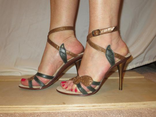 Shahe G Sexy Strap Ankle Cute Leather brown green Sandals Image 3