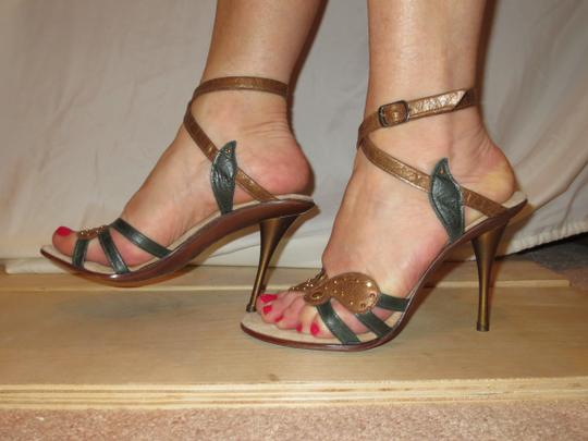 Shahe G Sexy Strap Ankle Cute Leather brown green Sandals Image 4