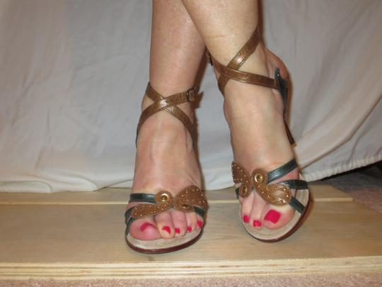 Shahe G Sexy Strap Ankle Cute Leather brown green Sandals Image 6