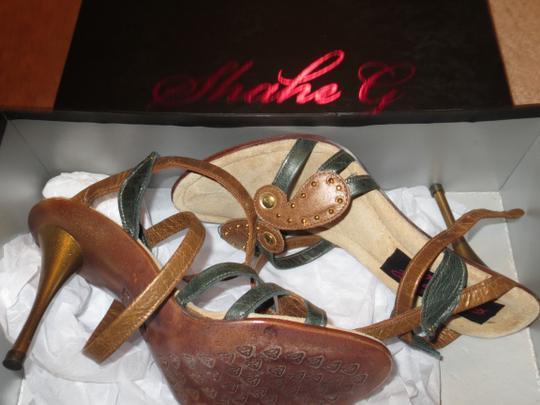 Shahe G Sexy Strap Ankle Cute Leather brown green Sandals Image 8
