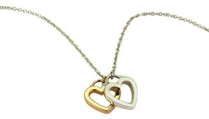 Tiffany & Co. Sterling & 18k Gold 2 Open Double Hearts Pendant Necklace