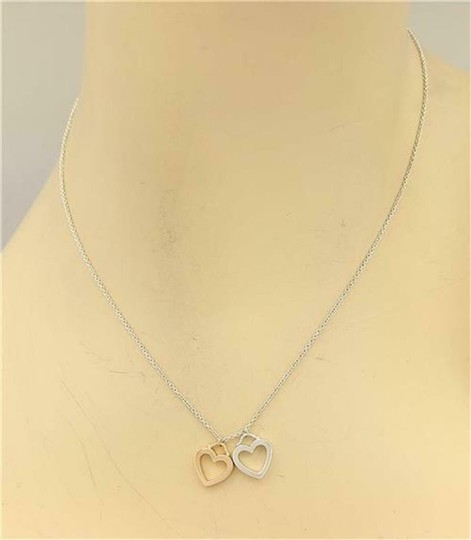 Tiffany & Co. Sterling & 18k Gold 2 Open Double Hearts Pendant Necklace Image 1