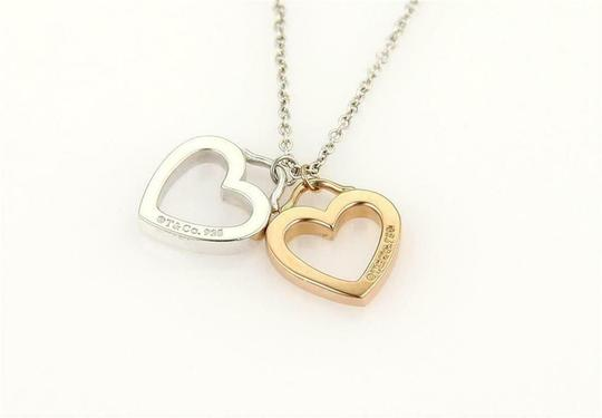 Tiffany & Co. Sterling & 18k Gold 2 Open Double Hearts Pendant Necklace Image 2