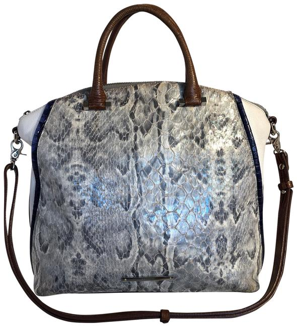 Item - Snakeskin Purse Silver White and Blue Leather Satchel