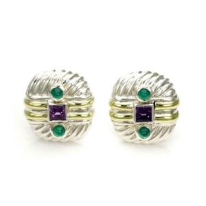 David Yurman Amethyst Emerald Sterling 14k Gold Cable Post Clip Earrings