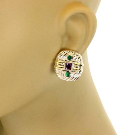 David Yurman Amethyst Emerald Sterling 14k Gold Cable Post Clip Earrings Image 1