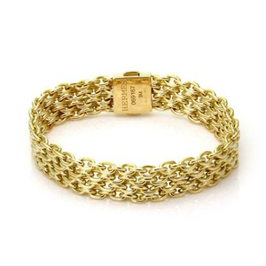 "Hermès Vintage 18k Yellow Gold 10.5mm Wide Mesh Chain Bracelet 5.75"" Long"
