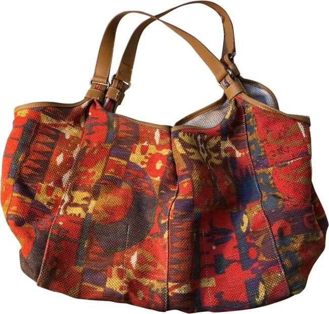 Item - Oversized Multicolored Red Linen Cotton Genuine Leather Tote