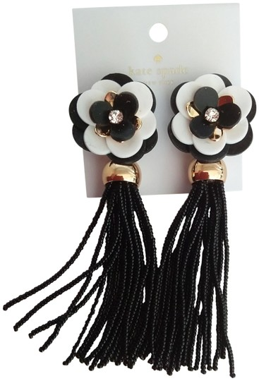 Preload https://img-static.tradesy.com/item/24925280/kate-spade-black-new-black-and-white-flower-tassel-earrings-0-1-540-540.jpg