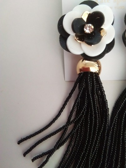 Kate Spade Kate Spade New Black&White Flower Tassel Earrings Image 1