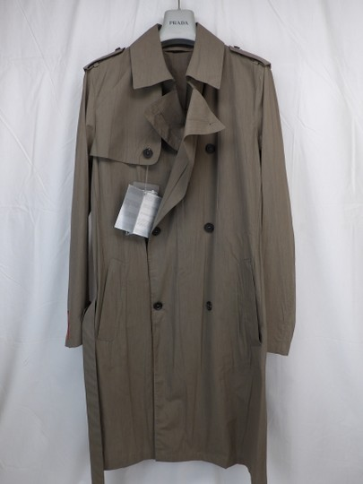 Prada Beige Double Sand Cotton Buttons Breasted Lightweight Trench Coat 50 Italy Tuxedo Image 2