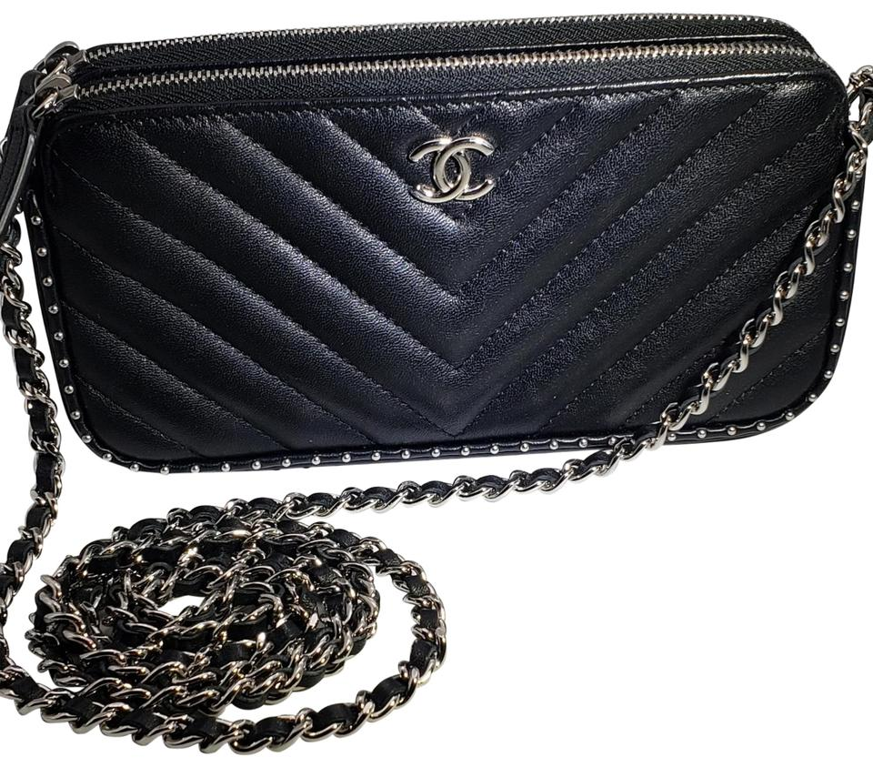 f0db2636a70e Chanel Studded Chain Herringbone Quilted Black Clutch Image 0 ...