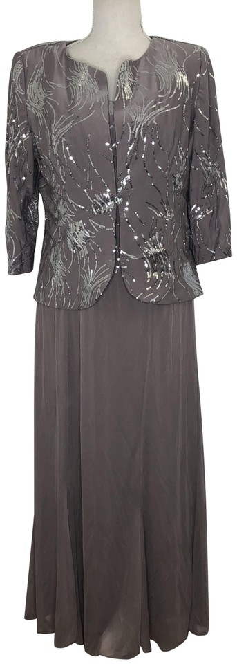 75970898f82 Alex Evenings Pewter Frost Sequin Mock Two-piece with Jacket Mid ...