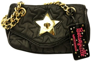 Betseyville by Betsey Johnson Quilted Chain Strap Star Fabric Embroidered Shoulder Bag