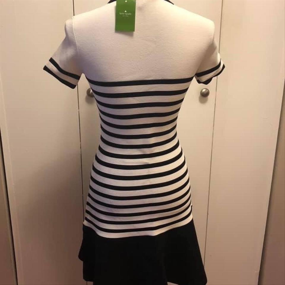 03e6683d8e65 Kate Spade Black/White Stripe Scuba Mid-length Night Out Dress Size ...