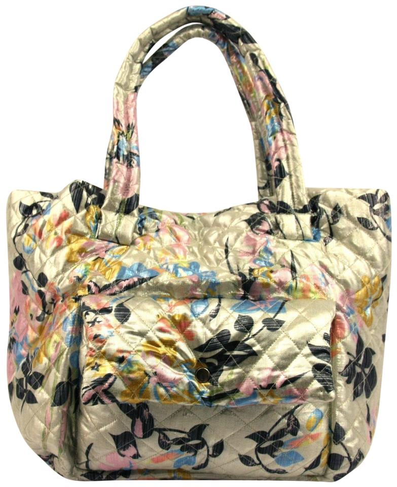 6ce199101b Free People New Dreamspun Floral Quilted Tote Silver Metallic Fabric ...