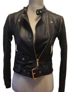 Michael Kors Dark Blue Leather Jacket